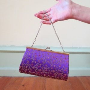 Handbags - Floral Purple Evening Bag